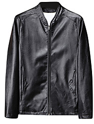 cheap -Men's Daily / Holiday / Going out Basic / Street chic Spring &  Fall Regular Leather Jacket, Solid Colored Round Neck Long Sleeve PU / Polyester Patchwork Brown / Black / Wine