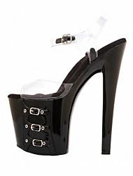 cheap -Women's Sandals Cone Heel Peep Toe Rivet / Buckle PVC(Polyvinyl chloride) Minimalism Summer Black / Clear / Party & Evening