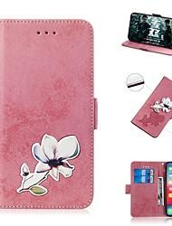 Недорогие -чехол для яблока iphone xs / iphone xr / iphone xs max кошелек / держатель карты / противоударный чехлы для всего тела цветок искусственная кожа для iphone 8 plus / iphone 7 plus / iphone 6s plus /
