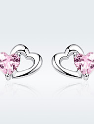 cheap -Women's Pink AAA Cubic Zirconia Stud Earrings Classic Heart Artistic Luxury Fashion Cute Elegant S925 Sterling Silver Earrings Jewelry Silver For Christmas Gift Daily Work Festival 1 Pair