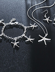 cheap -Women's Chain Bracelet Charm Bracelet Drop Earrings 3D Starfish Stylish Unique Design Silver Plated Earrings Jewelry Silver For Daily Work 1 set / Pendant Necklace