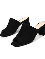cheap -Women's Sandals Chunky Heel Peep Toe Suede Summer Black / Pink / Beige