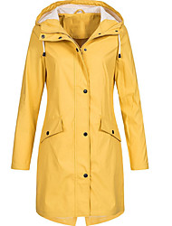cheap -Women's Daily Basic Plus Size Long Trench Coat, Solid Colored Hooded Long Sleeve Polyester Black / Blushing Pink / Yellow