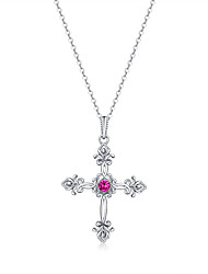 cheap -Women's Red AAA Cubic Zirconia Pendant Necklace Classic Cross Fashion S925 Sterling Silver Silver 45 cm Necklace Jewelry 1pc For Daily