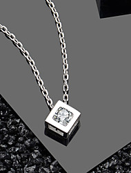 cheap -Hot-selling elegant crystal CZ cube design pure silver jewelry 925 Pendant Necklace Pendant size about 8.3 mm*8.3 mm chain length about 43 cm (including 3 cm extension chain)