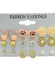 cheap -Women's Earrings Set Geometrical Sun Flower Romantic Elegant Imitation Pearl Earrings Jewelry Gold For Party Carnival Street Work 6 Pairs