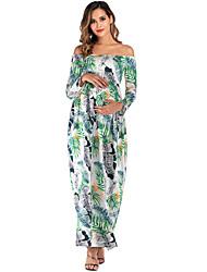 cheap -Women's Maxi Maternity White Black Dress Boho A Line Floral Tropical Leaf Print S M