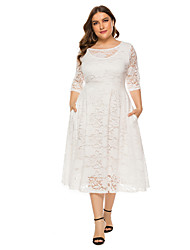 cheap -Women's Plus Size White Black Dress A Line Solid Colored Lace XL XXL