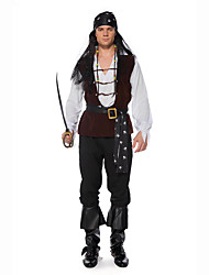 cheap -Pirates of the Caribbean Cosplay Costume Masquerade Adults' Men's Cosplay Halloween Halloween Festival / Holiday Cotton Polyster Brown Men's Carnival Costumes