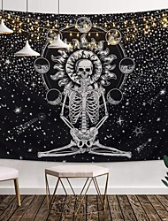 cheap -Skull Tapestry Meditation Skeleton Wall Hanging Tapestry, Chakra Starry Tapestry-Black and White Stars Wall Hanging For Room (90.5''L×70.8''W)