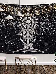cheap -Wall Tapestry Art Decor Blanket Curtain Picnic Tablecloth Hanging Home Bedroom Living Room Dorm Decoration Tarot Halloween Skull Meditation Skeleton Chakra Starry Black White Star