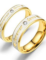 Недорогие -Для пары Кольца для пар Кольцо 1шт Золотой Розовое золото Нержавеющая сталь Круглый Винтаж Классический Мода обещание Бижутерия Сердце Сердце