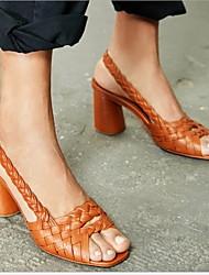 cheap -Women's Sandals Chunky Heel Peep Toe PU(Polyurethane) Summer Black / Green / Almond