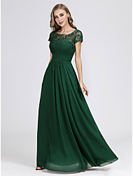 cheap -A-Line Scoop Neck Floor Length Chiffon / Lace Elegant & Luxurious Formal Evening Dress with Lace Insert 2020