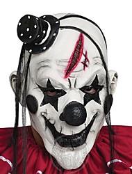 cheap -Horrible Scary Clown Mask Adult Men Latex White Hair Halloween