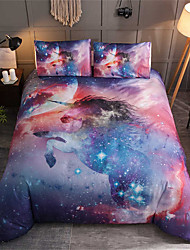 cheap -Duvet Cover Sets 3 Piece Polyester / Polyamide Galaxy Blue Reactive Print Abstract / 200 / 3pcs (1 Duvet Cover, 2 Shams)