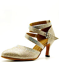 cheap -Women's Jazz Shoes / Ballroom Shoes Synthetics Cross Strap Heel Crystal / Rhinestone Cuban Heel Customizable Dance Shoes Gold / Performance / Practice