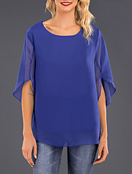 cheap -Women's Solid Colored Chiffon Fashion T-shirt Daily Wear Wine / Black / Blue / Purple / Blushing Pink / Fuchsia / Green / Lavender