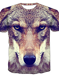 cheap -Men's Daily Going out Basic / Exaggerated T-shirt - Color Block / 3D / Animal Dog, Print Brown