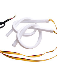 cheap -2PCS DRL Flowing Flexible LED Tube Strip 30cm 45cm 60cm Daytime Running Lights Turn Signal Angel Eyes Running LED Car Styling