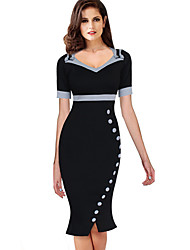 cheap -Women's Black Dress Elegant Sophisticated Bodycon Sheath Trumpet / Mermaid Polka Dot Solid Colored Square Neck Black & White Bow Ruffle Drawstring S M