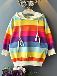 cheap -Kids Girls' Active Street chic Print Long Sleeve Hoodie & Sweatshirt Rainbow