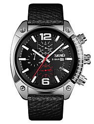 cheap -SKMEI Men's Dress Watch Quartz Leather Black / Brown 30 m Water Resistant / Waterproof Calendar / date / day Casual Watch Analog New Arrival Fashion - Black Gold Silver