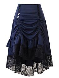 cheap -Women's Vintage Asymmetrical A Line Skirts - Patchwork Lace Black Wine Blue S M L