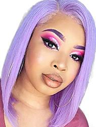 Недорогие -Синтетические кружевные передние парики Прямой Боковая часть Лента спереди Парик Короткие Фиолетовый Искусственные волосы 8-10 дюймовый Жен. Регулируется Жаропрочная Для вечеринок Фиолетовый