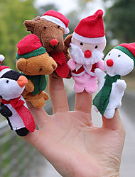 cheap -5 pcs Finger Puppets Hand Puppets Stuffed Animal Plush Toy Christmas Adorable Parent-Child Interaction Funny Cotton / Polyester Imaginative Play, Stocking, Great Birthday Gifts Party Favor Supplies