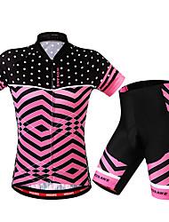 Недорогие -WOSAWE Жен. С короткими рукавами Велокофты и велошорты Красный Велоспорт Шорты Джерси Наборы одежды Дышащий 3D-панель Виды спорта Полиэстер Спандекс Весы Горные велосипеды Шоссейные велосипеды Одежда