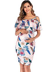 cheap -Women's Elegant Bodycon Dress - Floral Cut Out Ruffle Print White Blushing Pink Blue S M L XL