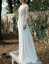 cheap -A-Line Bateau Neck Sweep / Brush Train Chiffon / Lace Long Sleeve Made-To-Measure Wedding Dresses with Lace Insert 2020