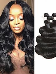 Недорогие -3 Связки Бразильские волосы Естественные кудри Не подвергавшиеся окрашиванию 100% Remy Hair Weave Bundles Wig Accessories Головные уборы Человека ткет Волосы 8-28 дюймовый Естественный цвет