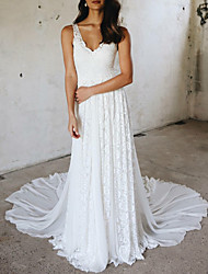 cheap -A-Line Wedding Dresses V Neck Court Train Chiffon Lace Spaghetti Strap Simple Plus Size with Lace Insert 2020