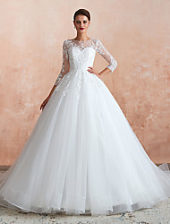 cheap -A-Line Jewel Neck Court Train Tulle 3/4 Length Sleeve Made-To-Measure Wedding Dresses with 2020