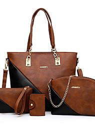 cheap -Women's Zipper / Chain PU Leather Bag Set Bag Sets Geometric Pattern 4 Pieces Purse Set Red / Blushing Pink / Brown / Fall & Winter