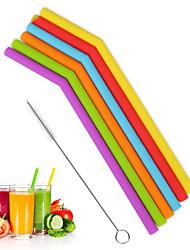 Недорогие -Многоразовые силиконовые питьевой соломинки набор изогнутые прямые гибкие соломинки с щетками для чистки тумблером партии