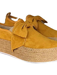 cheap -Women's Loafers & Slip-Ons Low Heel Round Toe Bowknot Suede Summer White / Gold / Yellow / Daily