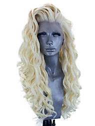 cheap -Synthetic Lace Front Wig Wavy Side Part Lace Front Wig Blonde Long Light Blonde Synthetic Hair 18-26 inch Women's Adjustable Heat Resistant Party Blonde