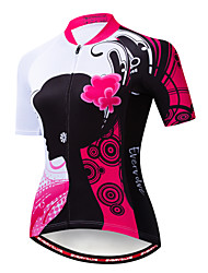 cheap -EVERVOLVE Floral Botanical Women's Short Sleeve Cycling Jersey - Fuchsia Bike Jersey Top Breathable Moisture Wicking Quick Dry Sports Cotton Polyster Lycra Mountain Bike MTB Road Bike Cycling