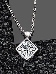 cheap -Women's AAA Cubic Zirconia Pendant Necklace Classic Classic S925 Sterling Silver Silver 45 cm Necklace Jewelry 1pc For Daily