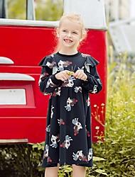 cheap -Kids Girls' Floral Knee-length Dress Black