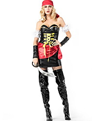 cheap -Pirate Costume Women's TV / Movie Halloween Performance Theme Party Costumes Women's Dance Costumes Terylene Lace-up