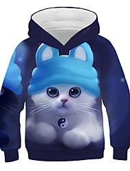 abordables -Enfants Fille Actif Chic de Rue Chat Imprimé 3D Animal Imprimé Manches Longues Pull à capuche & Sweatshirt Bleu
