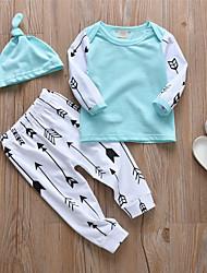 Недорогие -малыш Мальчики На каждый день / Активный Пэчворк С принтом Длинный рукав Обычный Набор одежды Светло-зеленый