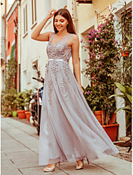 cheap -A-Line Elegant See Through Prom Dress V Neck Sleeveless Floor Length Spandex Tulle Beaded Lace with Sash / Ribbon Beading Tier 2020