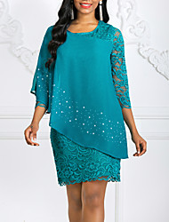 cheap -Women's Bodycon Dress - 3/4 Length Sleeve Lace Chiffon Fashion Spring Summer Blue Green Navy Blue S M L XL XXL XXXL XXXXL XXXXXL