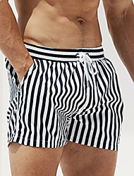 cheap -Men's Swim Shorts Swim Trunks Board Shorts UV Sun Protection Quick Dry Drawstring - Swimming Beach Water Sports Stripes Patchwork Autumn / Fall Spring Summer