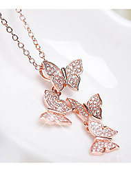 cheap -Women's Pendant Necklace Two tone Butterfly Trendy Sweet Zircon Chrome Gold Silver 46 cm Necklace Jewelry 1pc For Daily